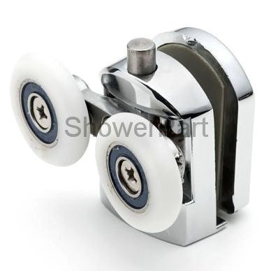 --2 x Spring Loaded Double Bottom Shower Door Rollers/Runners/ Guides/Wheels diameter 25mm A5