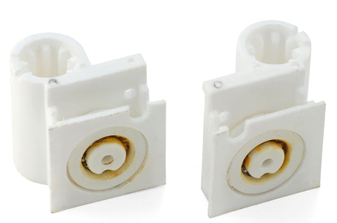 Set of 2 Bifold Door Wheel Blocks 1 Left and 1 Right Hand Shower Rollers/Runner Grooved 20mm Wheel Diameter B2