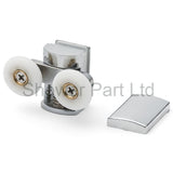 --2 x Twin Shower Door Rollers/Runners/Wheels 23mm or 26mm Wheel Diameter Top and Bottom BE-M12