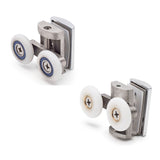 --Set of 4 Twin Zinc Alloy Shower Door Rollers/Runners / Wheels Top and Bottom 24mm  or 26mm Wheel Diameter BE-MB06