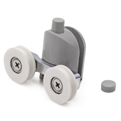 2 x Twin Bottom Shower Door Rollers /Runners/Wheels Grooved 22mm Wheel Diameter L016
