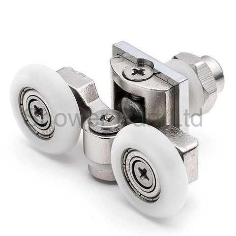 2 x Twin Top Zinc Alloy Shower Door Rollers/Runners/Wheels 20mm, 23.3mm or 25mm Wheel Diameter L057
