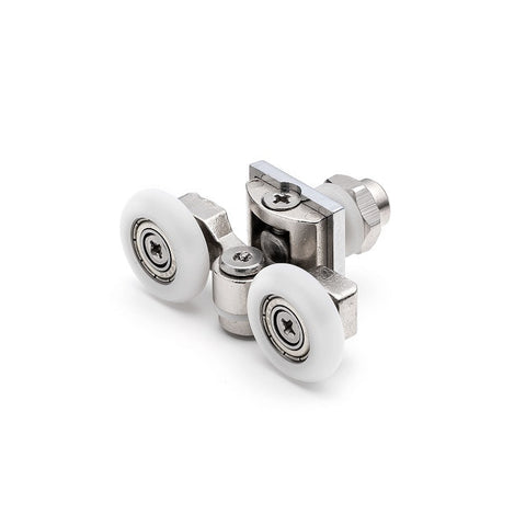 2 x Twin Top Zinc Alloy Shower Door Rollers/Runners/Wheels 20mm; 23.3mm or 25mm Wheel Diameter L057