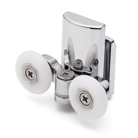 2 x Double Bottom Zinc Alloy Shower Door Rollers/Runners 20mm, 23mm, 25mm or 27mm Wheel Diameter (6mm or 8mm Glass) L067