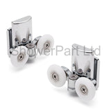 2 x Double Bottom Zinc Alloy Shower Door Rollers/Runners 20mm, 23mm or 25mm Wheel Diameter (6mm or 8mm Glass) L067