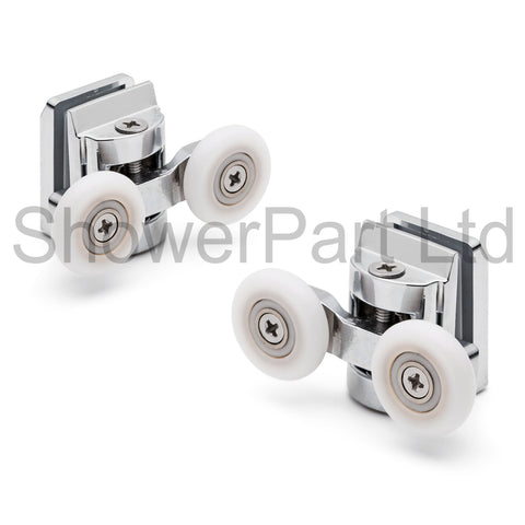 2 x Double Top Zinc Alloy Shower Door Rollers/Runners 20mm, 23mm, 25mm or 27mm Wheel Diameter (6mm or 8mm Glass) L067