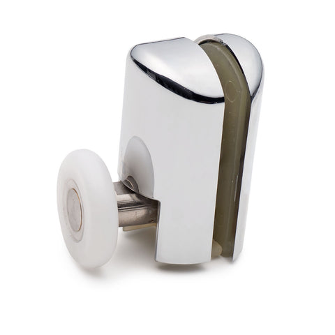 2 x Chromeplated Bottom Single Shower ROLLERS /Runners/Wheels 20mm, 23mm or 25mm Wheel Diameter L069