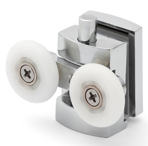 2 x Twin Bottom Zinc Alloy Shower Door Rollers/Runners/Spares 23mm Wheel Diameter L101