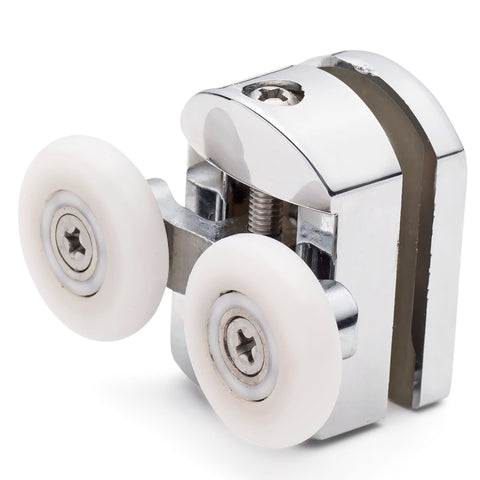 ––Set of 2 Double Top Shower Door Rollers/Runners/ Guides/Wheels 23mm or 25mm Wheel Diameter Chrome L105