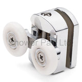 ––2 x Double Top Shower Door Rollers/Runners/ Guides/Wheels 25mm Wheel Diameter Chrome L105