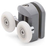 Set of 2 Double Shower Door Rollers/Runners /Guides/Wheels 23mm or 25mm Wheel Diameter Grey Plastic L105