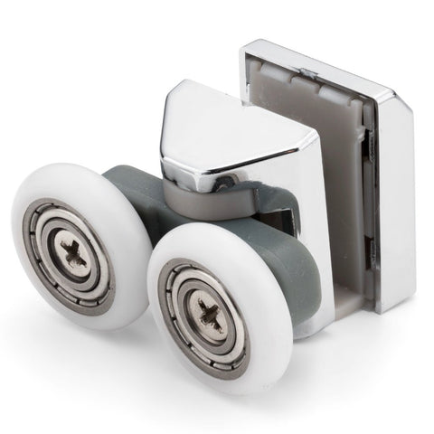 1 x Twin Top Zinc Alloy Shower Door Rollers/Runners/Wheels 23mm Wheel Diameter LAS1