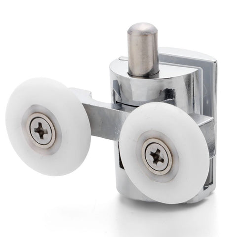 2 x Chromeplated Double Bottom Shower Rollers /Runners/Wheels 23 or 25mm Wheel Diameter L089