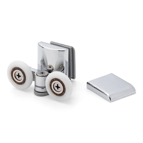 1 x Chrome Plated Bottom Double Shower Door Roller/Runner 24mm Wheel Diameter MER03