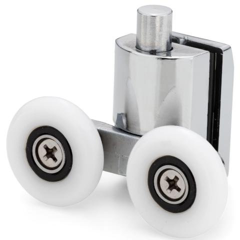 1 x Double Bottom Zinc Alloy Shower Door Rollers/Runners 25mm Wheel Diameter SD3