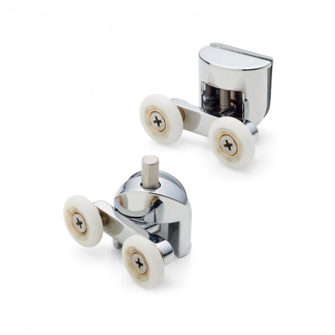 Set of 2 Double Top and Bottom Shower Door Rollers/Runners 23mm Wheel Diameter AQ2