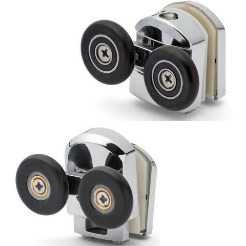 Set of 4 Chromeplate Top and Bottom Double Shower door Rollers/Runners/Wheels 25mm Wheel Diameter APQ5