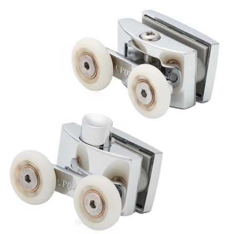 Set of 2 Double Top and Bottom Zinc Alloy Shower Door Rollers/Runners 23mm Wheel Diameter AQ9
