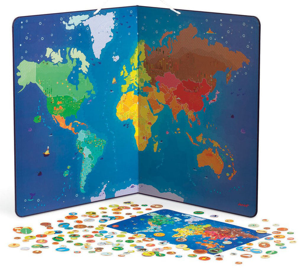 7 toys to get kids psyched about our planet earth petit bazaar a big brightly colored magnetic map with over 200 magnets to place particularly great for introducing endemic animals and traditional clothes to your gumiabroncs