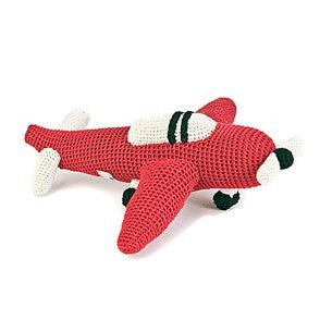 Anne-Claire Petit Airplane Crochet with Bell - Red