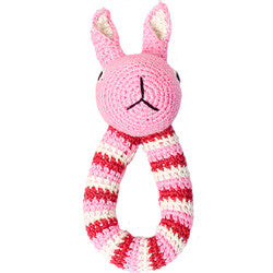 Anne-Claire Petit Rabbit Ring Crochet with Bell - Pink