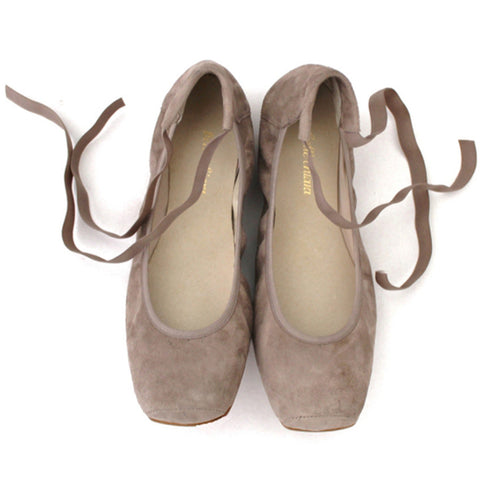 Belle Chiara Audrey Square Toe Ballet Flats Suede Taupe