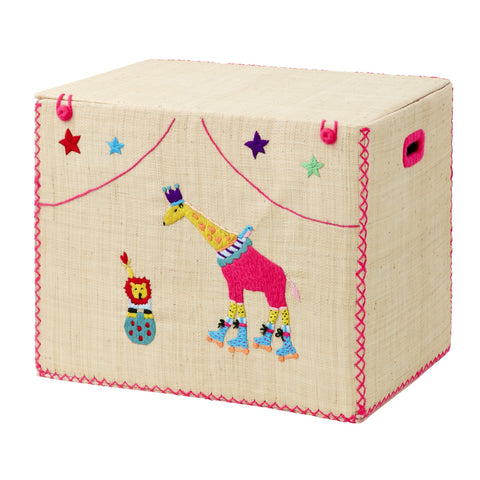 Rice DK Giraffe and Lion Large Foldable Basket in Circus Design