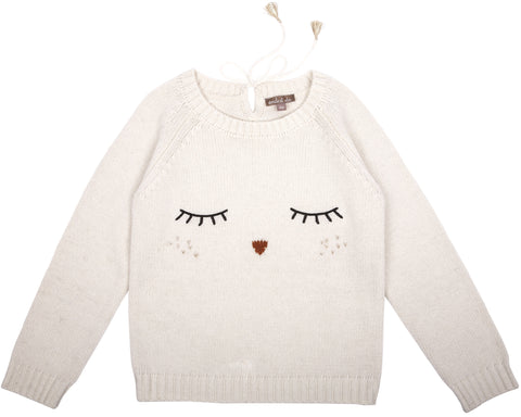 Emile et Ida Embroidered Owl Sweater - Ecru