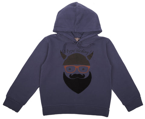 Emile et Ida Viking Beard Hooded Sweatshirt - Midnight Blue