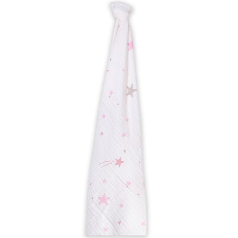 Momeasy Cotton Swaddling Blanket (Single Pack) - 100x120cm - Shooting Stars Pink