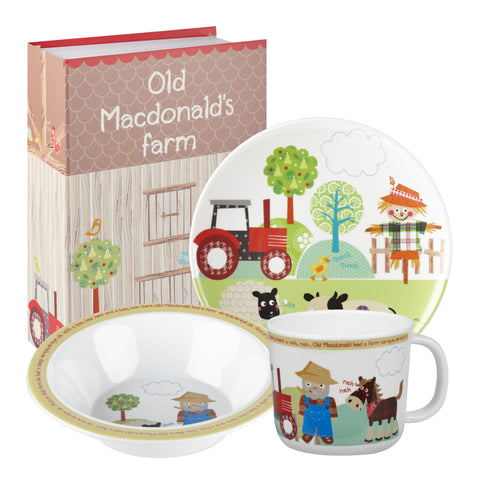 Churchill Little Rhymes Old Macdonalds Farm 3 Piece Melamine Set