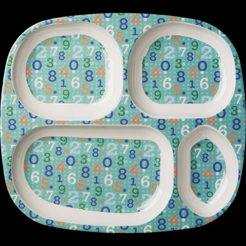 Rice DK Number Print 4-Room Plate - Green