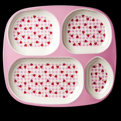 Rice DK Gingham and Strawberry 4-Room Plate