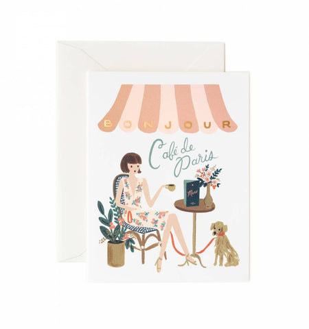 Rifle Paper Co Bonjour Cafe Card
