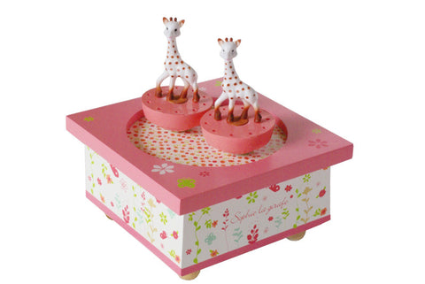 Trousselier Sophie the Giraffe Musical Wooden Box - Pink