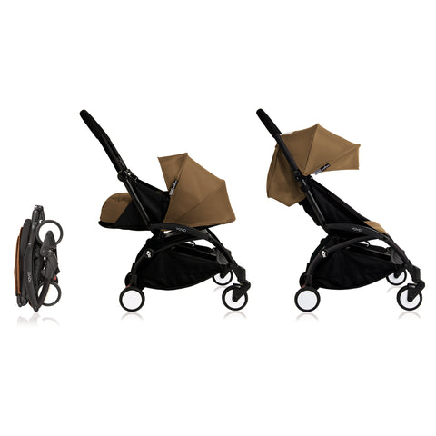 Babyzen YOYO+ 0+ 6+ Baby Stroller Complete Set - Black Frame with Toffee 0+ Newborn Pack & 6+ Color Pack (Dispatched in 3-5 Working Days)