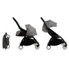 Babyzen YOYO+ 0+ 6+ Baby Stroller Complete Set - Black Frame with Grey 0+ Newborn Pack & 6+ Color Pack (Dispatched in 3-5 Working Days)