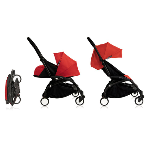 Babyzen YOYO+ 0+ 6+ Baby Stroller Complete Set - Black Frame with Red 0+ Newborn Pack & 6+ Color Pack (Dispatched in 3-5 Working Days)