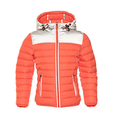 JOTT Booster Water-Repellent Reflective Down Jacket With Hood Orange Fluo