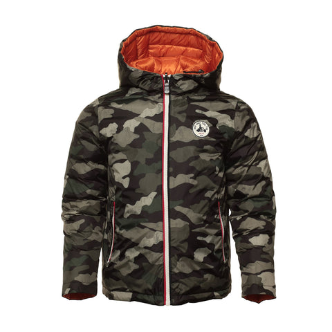 JOTT Reversible Water-Repellent Down Jacket Tokyo Camouflage Army Kaki