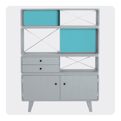 Laurette Bibliothèque Enigme Drawer & Shelf Grey Turquoise (Pre-Order; Est. Delivery in 3-4 Months)