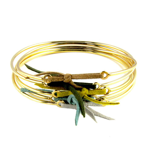 Paloma Stella Gold Bangle with Leather Link