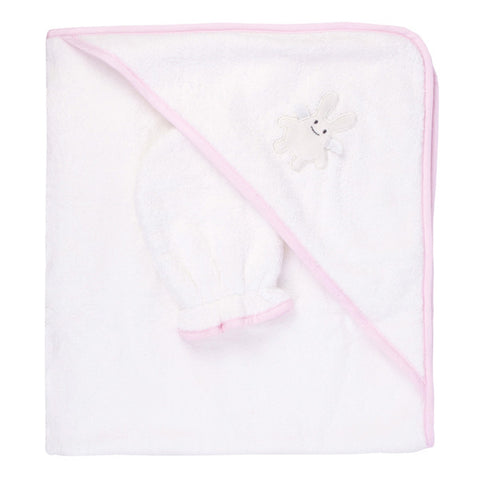 Trousselier Hooded Towel and Glove Angel Bunny Pink