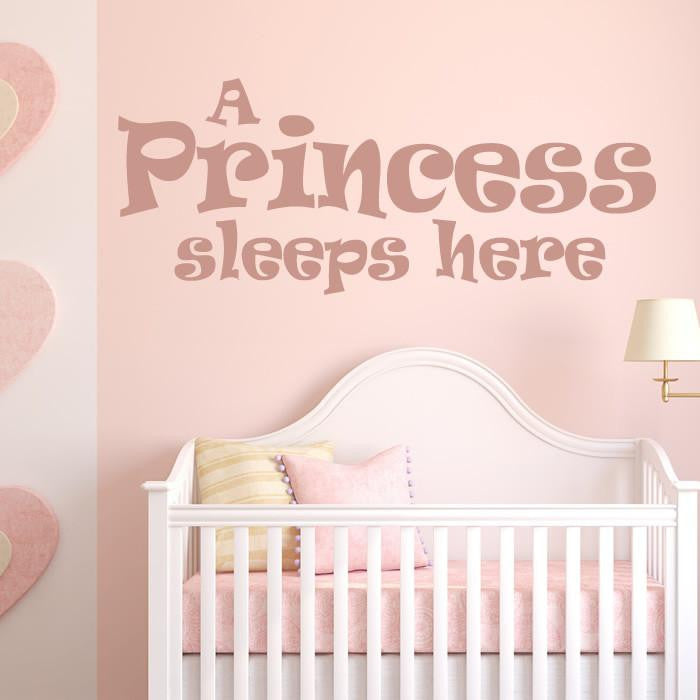A Princess Sleeps Here Wall Art Sticker (AS10001) - Apex Stickers