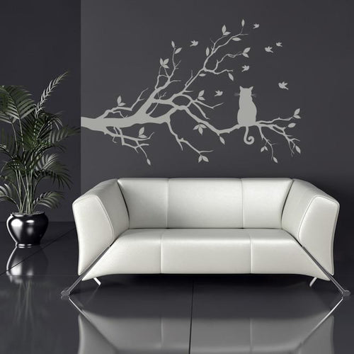 Cat on a long tree branch Wall Art Sticker - Apex Stickers