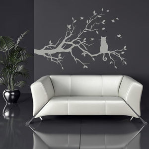Cat on a long tree branch Wall Art Sticker (AS10003) - Apex Stickers