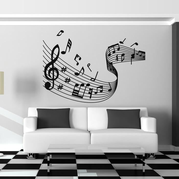 Musical Notes Wave Wall Art Sticker - Apex Stickers