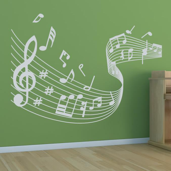 Musical Notes Wave Wall Art Sticker (AS10005) - Apex Stickers