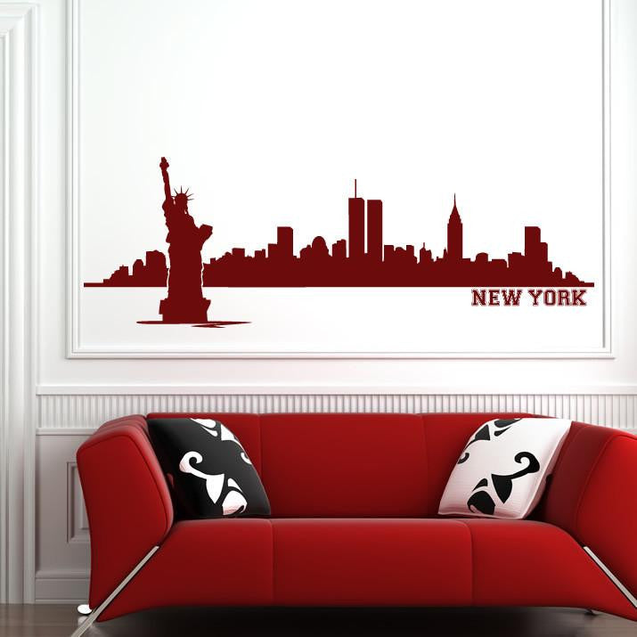 New York Skyline with text Wall Art Sticker (AS10010) - Apex Stickers