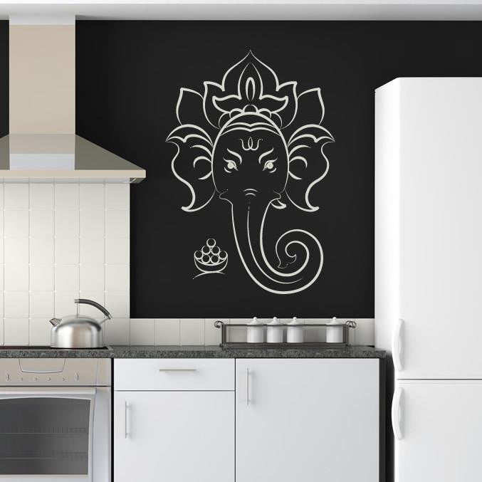 Ganesha Elephant Head Wall Art Sticker - Apex Stickers